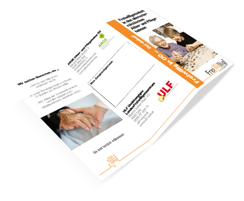 """Folder """"Freiwilligenarbeit in den oberösterreichischen Alten- und Pflegeheimen"""""""