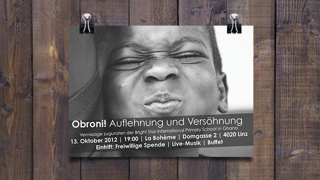 """Plakat Vernissage """"Obroni - Auflehnung und Versöhnung"""""""
